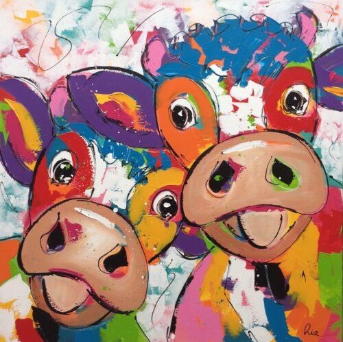 Liz schilderij 'Happy Cows II'