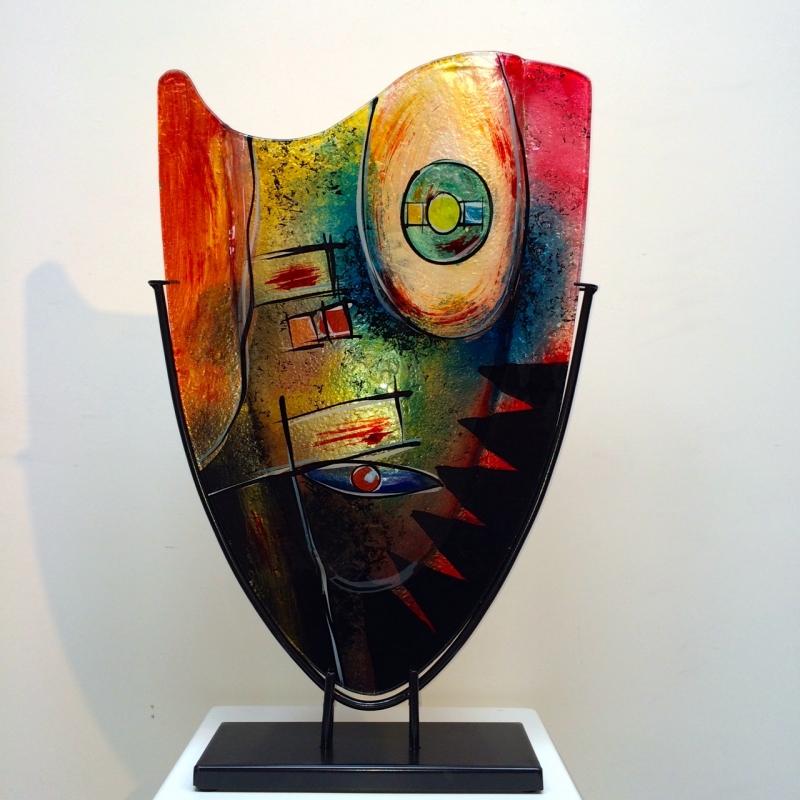 Design glas handbeschilderd 'Vaas hoog color