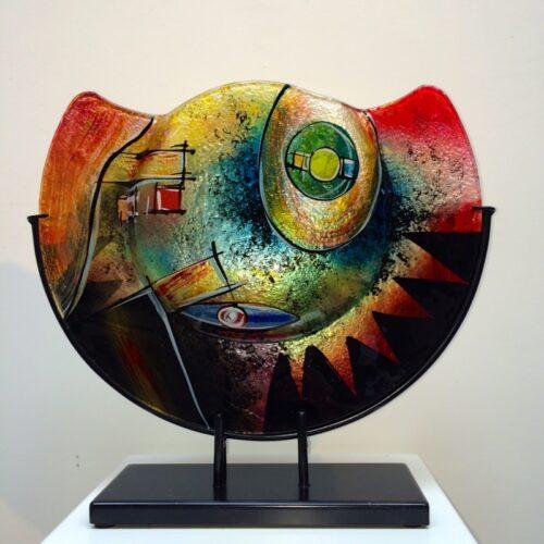 Design glas handbeschilderd 'Vaas halfrond color