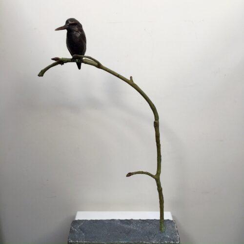 Rob Nagtzaam Bronzen beeld ' IJsvogel op tak '