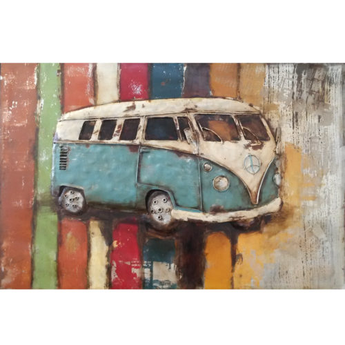 metal art 3D schilderij 'VW T1 bus