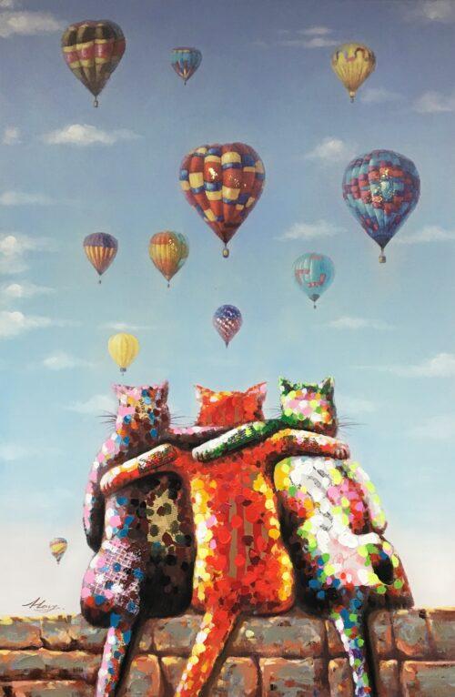 schilderij poezen met ballonnen
