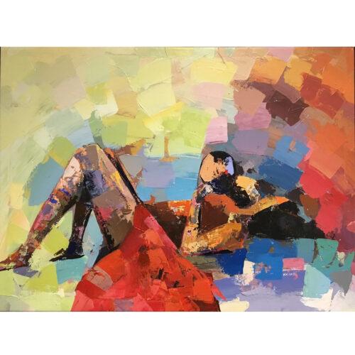 Kalungi Godfrey schilderij 'Mother's Love'