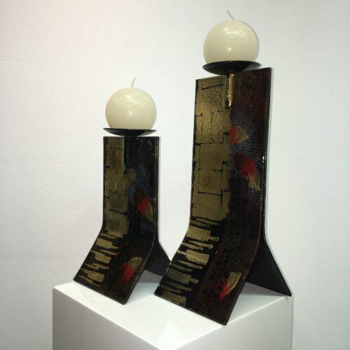 Handbeschilderd design glas kandelaars