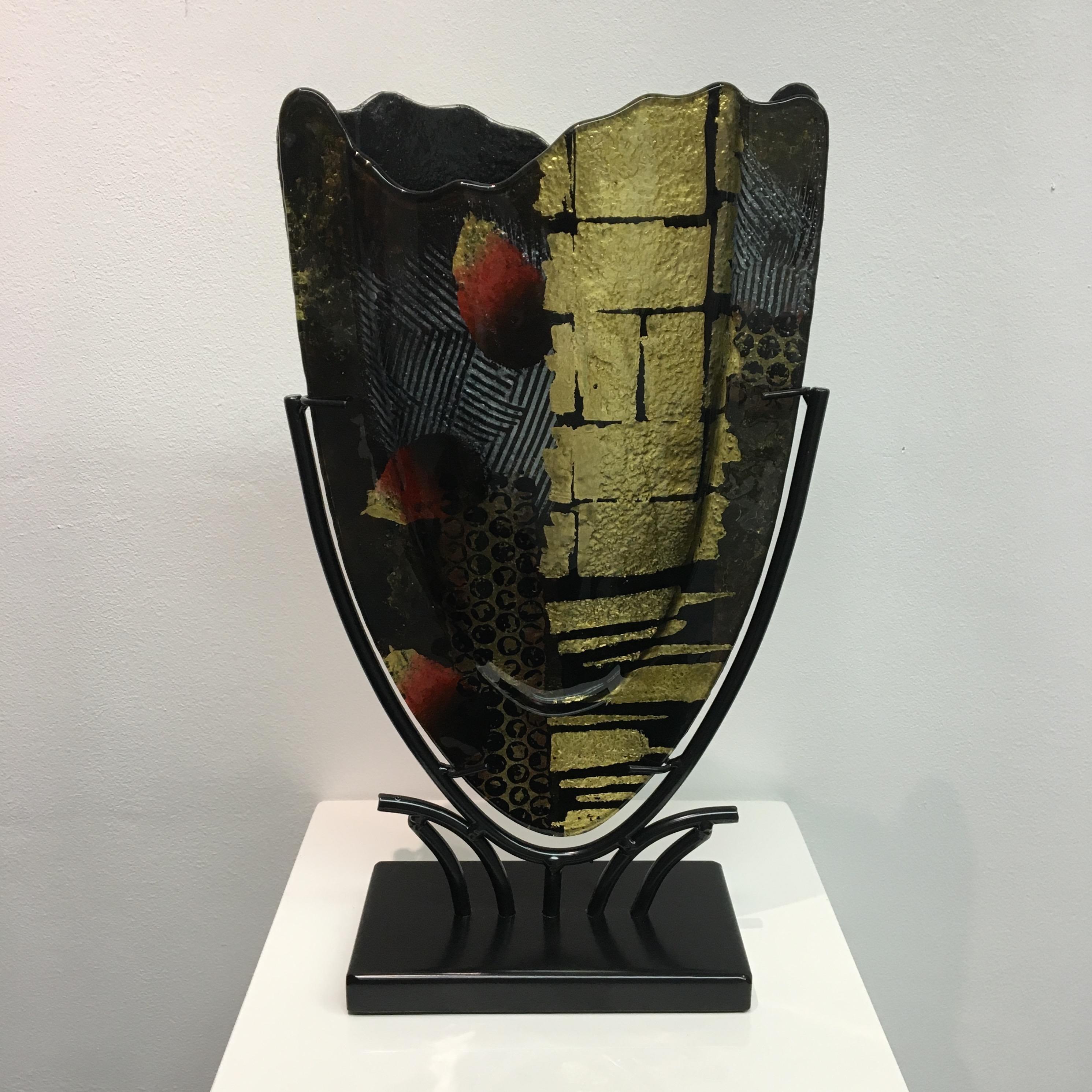 Design glas handbeschilderd 'Vaas kartelrand gold