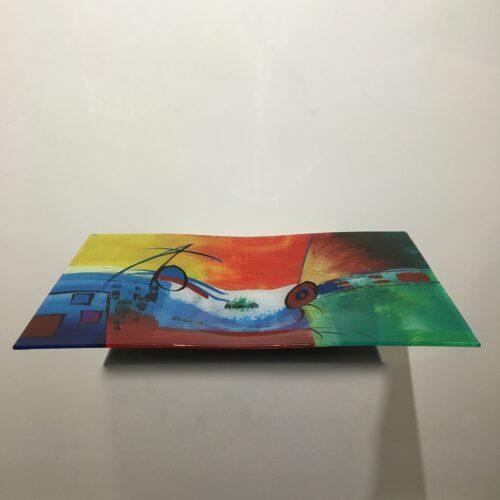 Design glas handbeschilderd 'Schaal rechthoek 4717