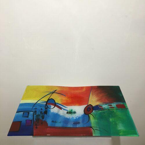 handbeschilderd design glas schaal rechthoek