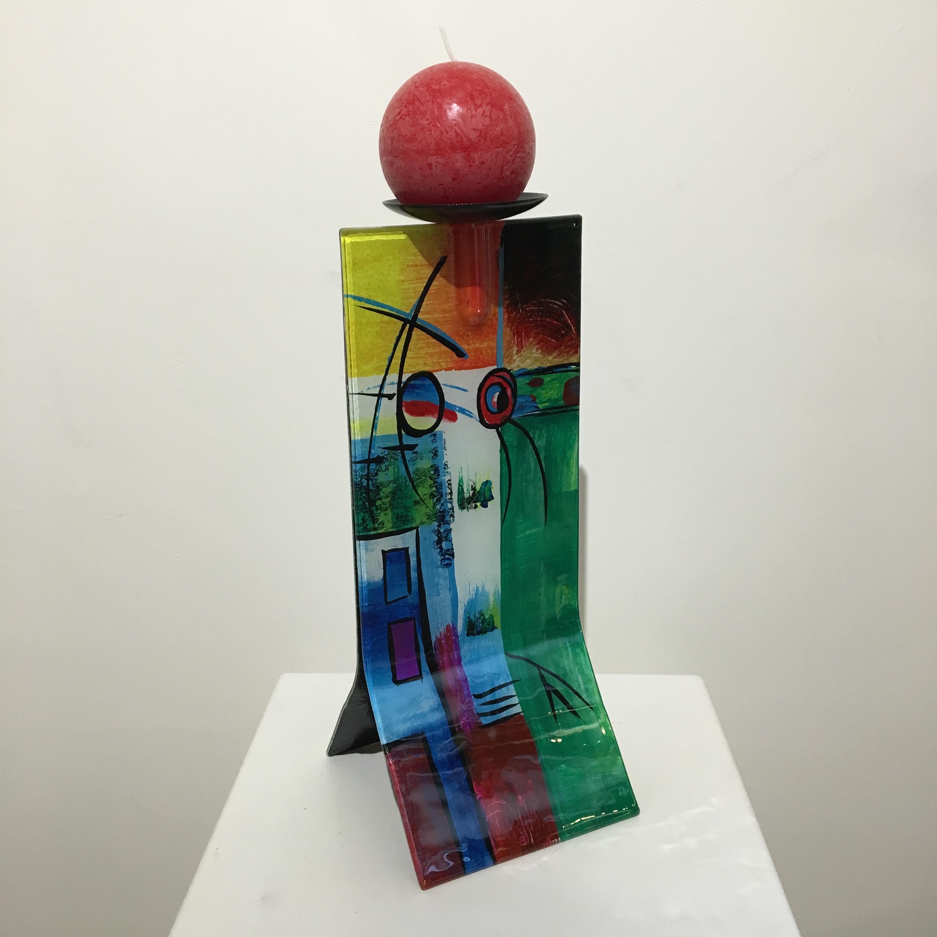 Design glas handbeschilderd 'Kandelaar 4710