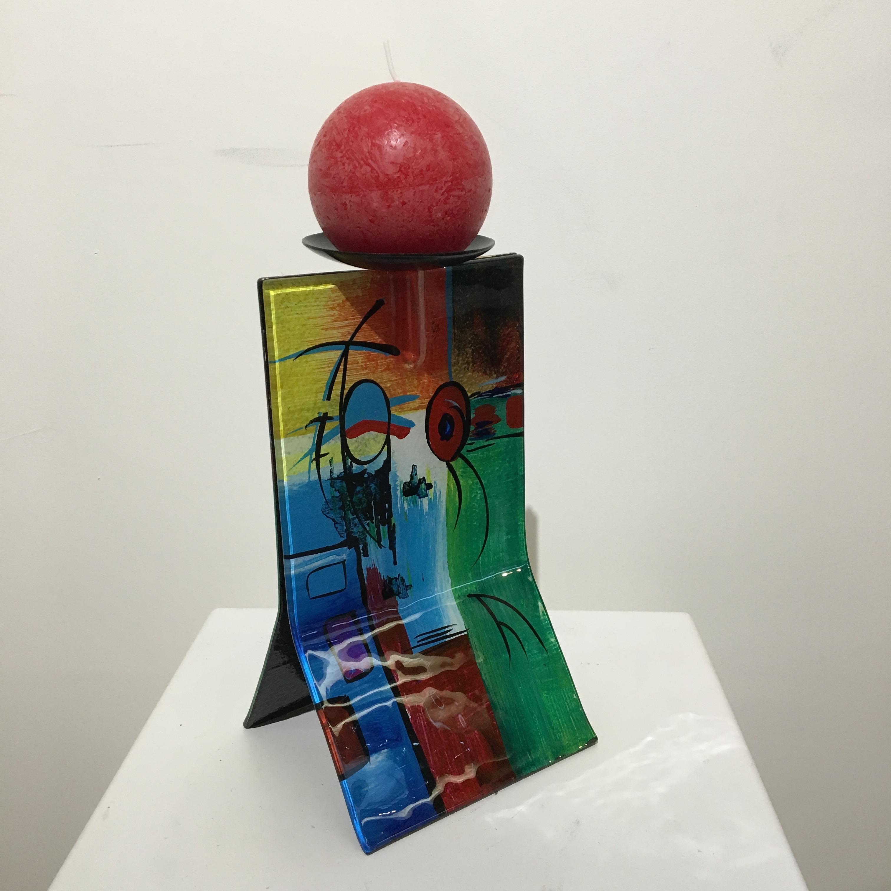Design glas handbeschilderd 'Kandelaar
