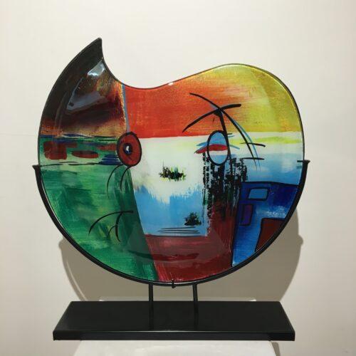 Design glas handbeschilderd 'Vaas maanvorm 4703