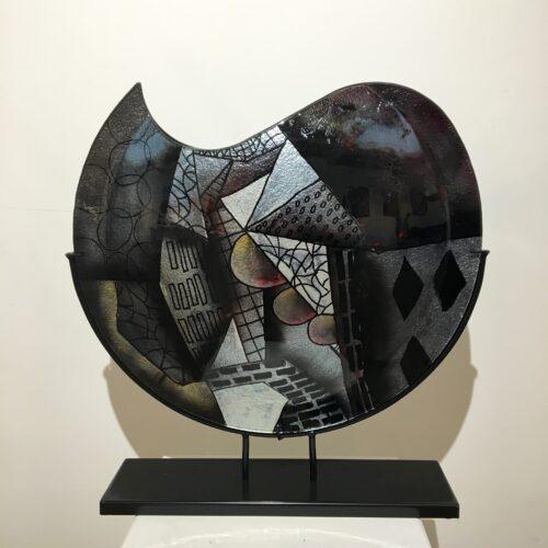 Design glas handbeschilderd 'Vaas maanvorm rustique