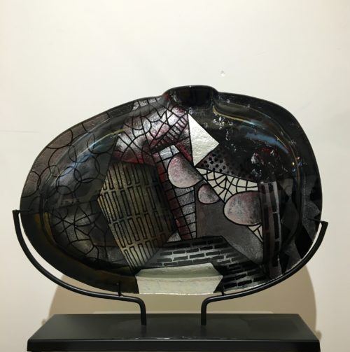 Design glas handbeschilderd 'Vaas ovaal