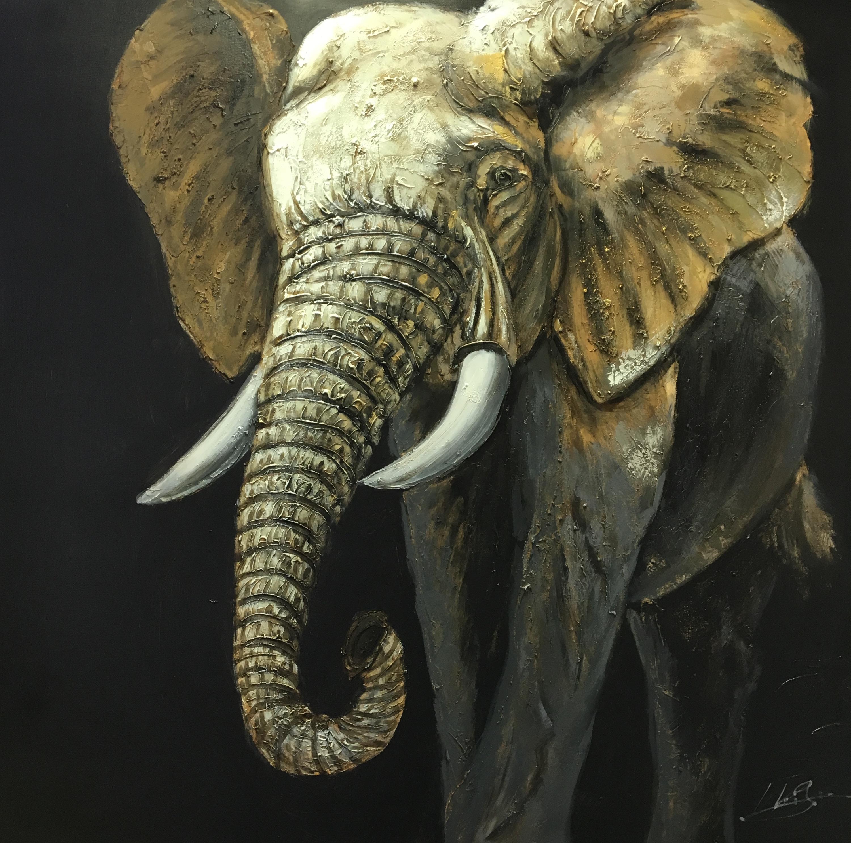 Schilderij 39 olifant 39 geschilderd op linnen in 100 x 100 for Schilderij olifant