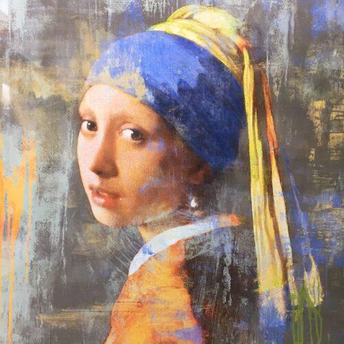 Foto 39 meisje met de parel 39 120 x 120 cm van bellen art for Schilderij op aluminium
