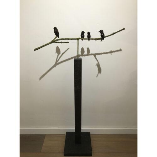 Rob Nagtzaam bronzen beeld IJsvogeltjes op tak