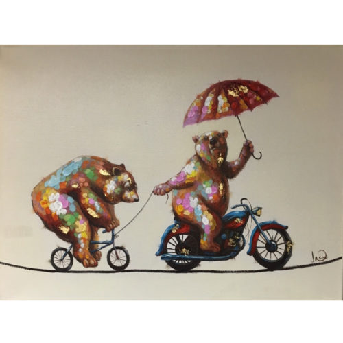 DecoArt schilderij 'Twee acrobaat beren'