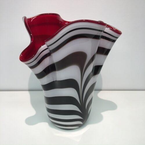 """Loranto glas vaas """"Rood met zebra'"""