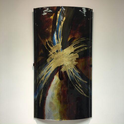 Design glas wandpaneel 'Blue Gold'
