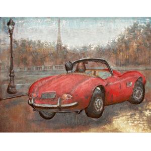 Metal Art 3D schilderij 'Cabrio in Parijs'