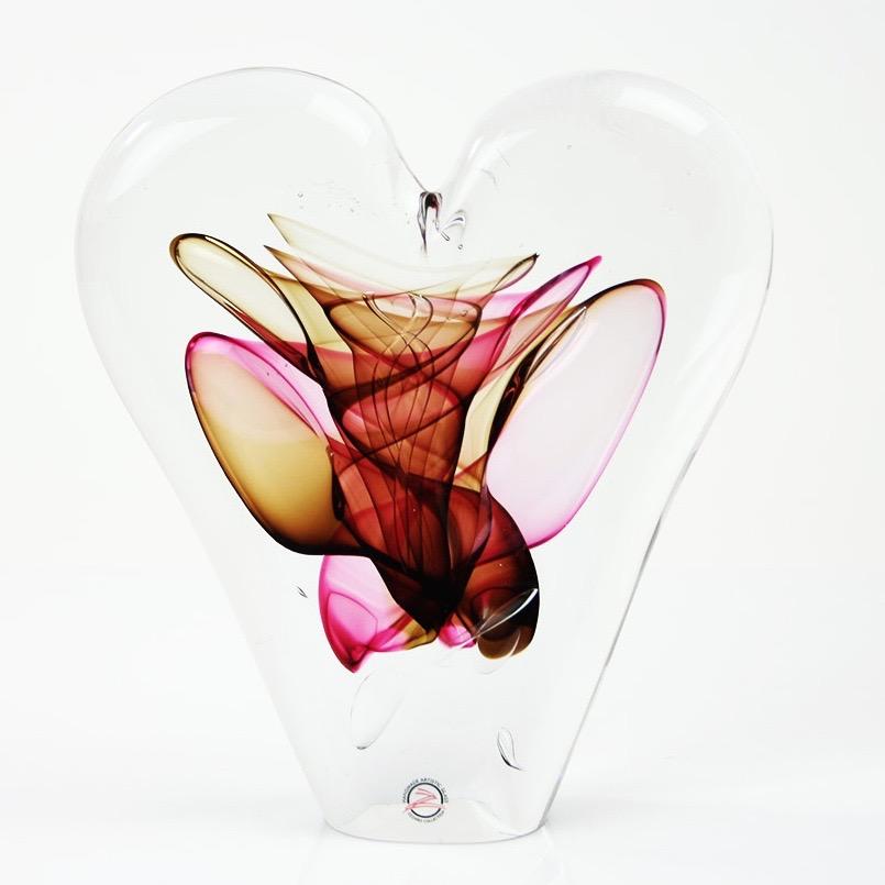 Loranto glas Hart 'rood bruin'