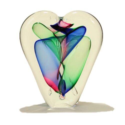 Loranto glas Hart 'rood/blauw/groen'