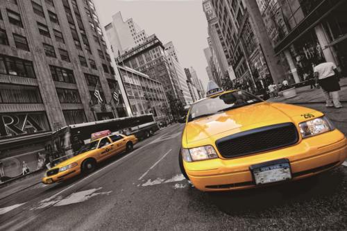 Foto op glas 'Yellow Cab'