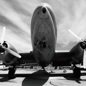 Foto op glas 'Vintage vliegtuig'
