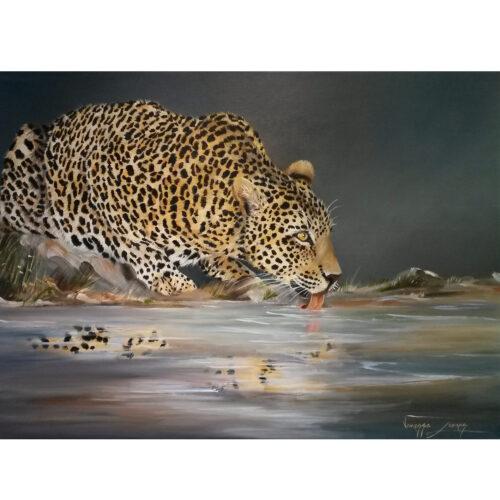 Vanessa Lomas schilderij 'Leopard drinking'