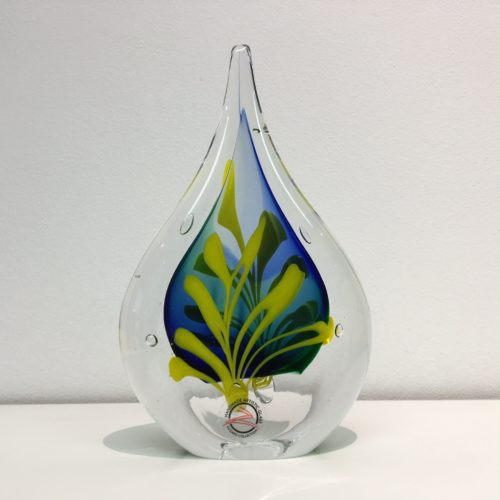 Loranto glas druppel 'blauw/geel'