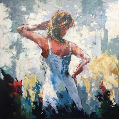 Ricky Damen schilderij 'Mijmerend'