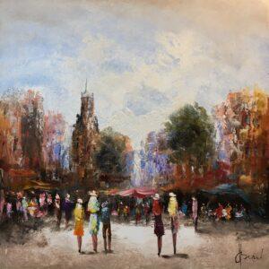 Henry Brand schilderij 'Markt'