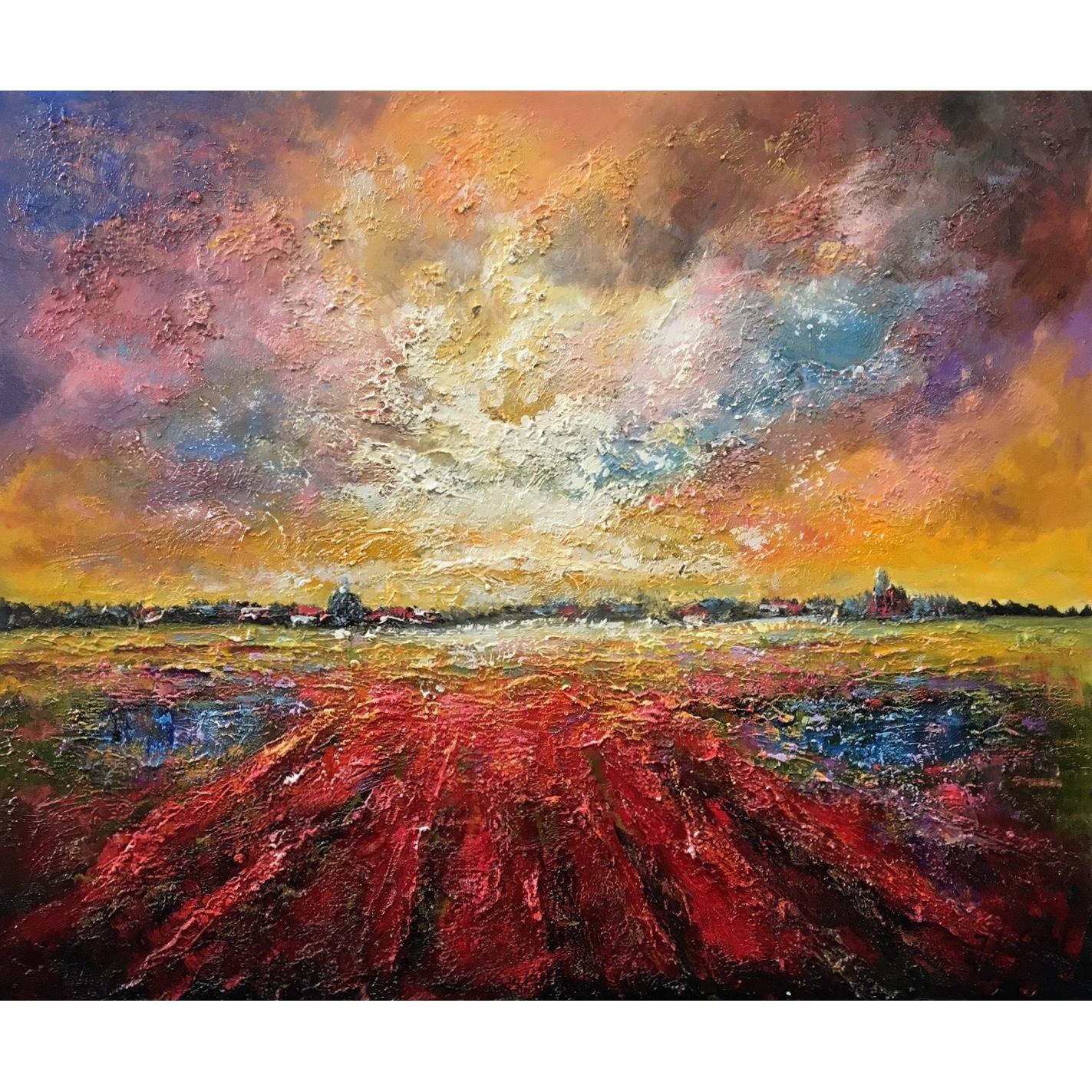 Top Jochem de Graaf schilderij 'landschap' - Bollenveld 100 x 120 cm &SO57