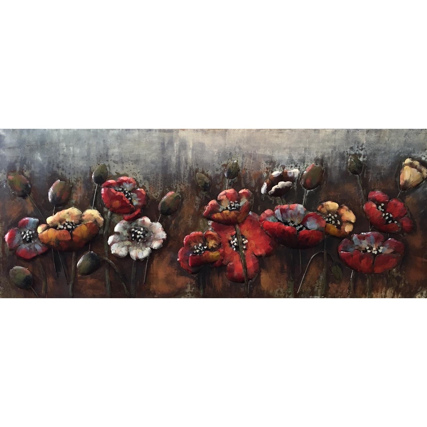 Extreem Metal Art 3D schilderij 'Bloemen' - Metalen schilderij 3D 60 x 150 cm. #CJ89
