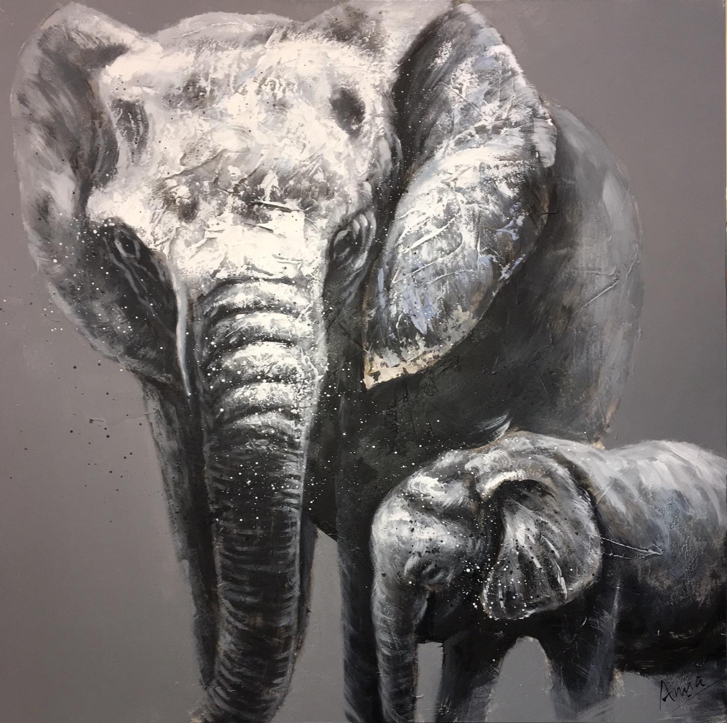 Schilderij 39 olifant met baby 39 origineel op linnen 100 for Schilderij olifant