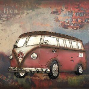 Metal Art 3D schilderij 'VW T1 Red'