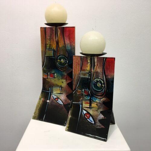 Design glas handbeschilderd 'Kandelaar color' 31 cm
