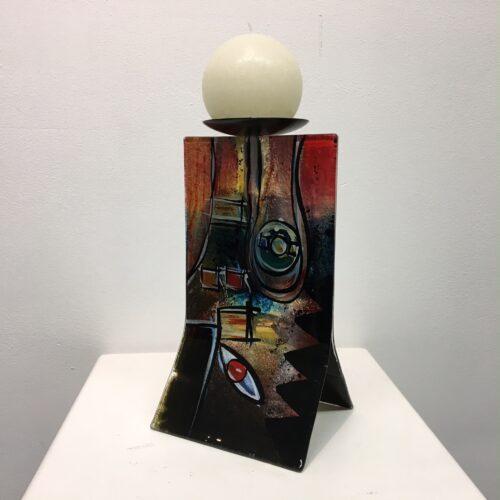 Design glas handbeschilderd 'Kandelaar color' 25 cm