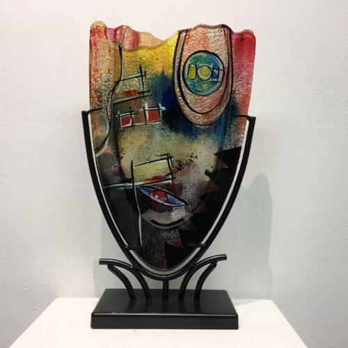 Design glas handbeschilderd 'Vaas kartelrand Color' 37 cm