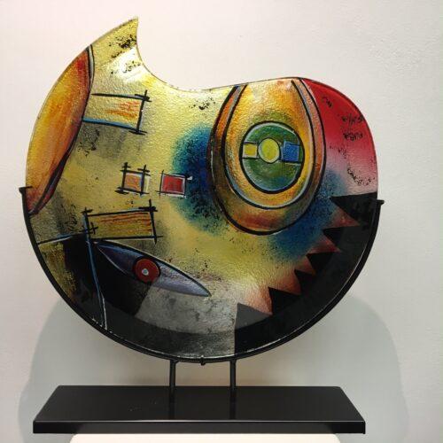 Design glas handbeschilderd 'Vaas maanvorm color'
