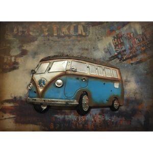 Metal Art 3D schilderij 'VW T1 Blauw'