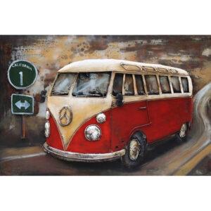 Metal Art 3D schilderij 'VW T1 Rood'