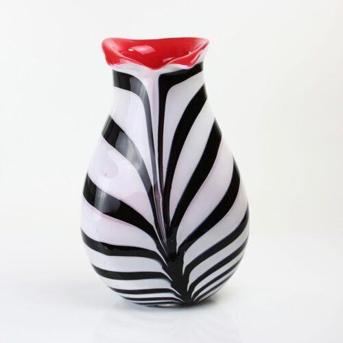 Loranto glazen vaas 'Red Stripes'