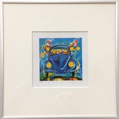 Ad Verstijnen kunstdruk 'VW Kever blauw voor'