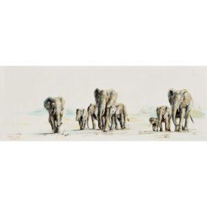 Vanessa Lomas schilderij 'Elephant herd on the move'