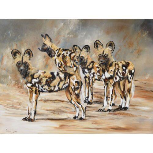 Vanessa Lomas schilderij 'Wild dog pack'