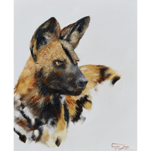 Vanessa Lomas schilderij 'Wild dog portrait'
