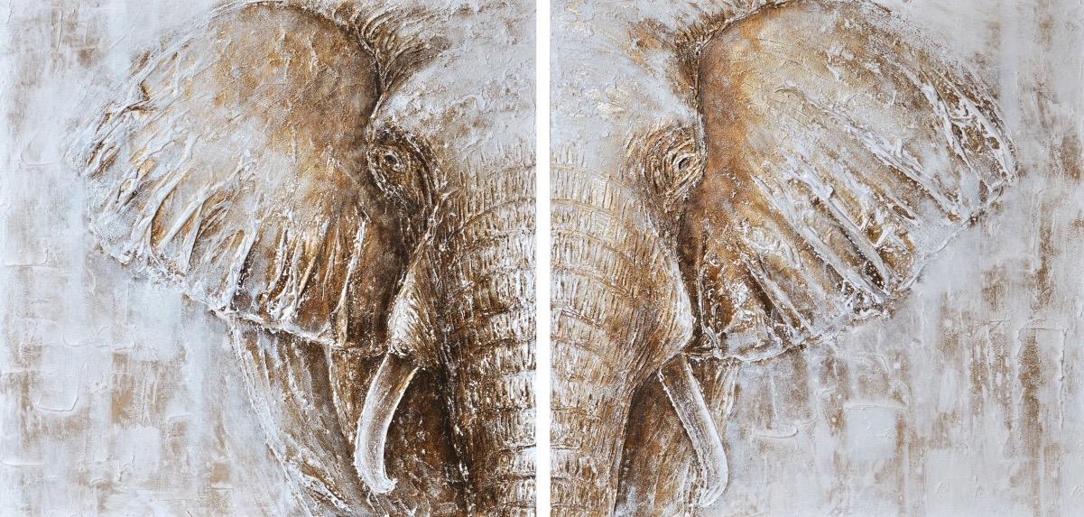 Schilderij 2 luik 39 olifant 39 op linnen in 100 x 200 cm for Schilderij olifant