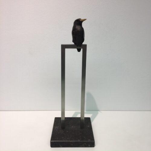 Laurens Spier bronzen beeld 'IJsvogeltje op rvs'