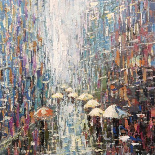 L'Oca Nera schilderij 'Rainy city'