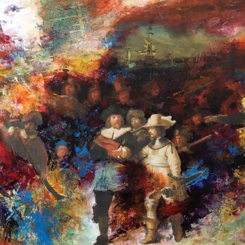 Qing Chun schilderij 'Nachtwacht 2.0'